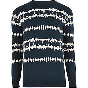 Pull motif aztèque bleu foncé effet tie-dye