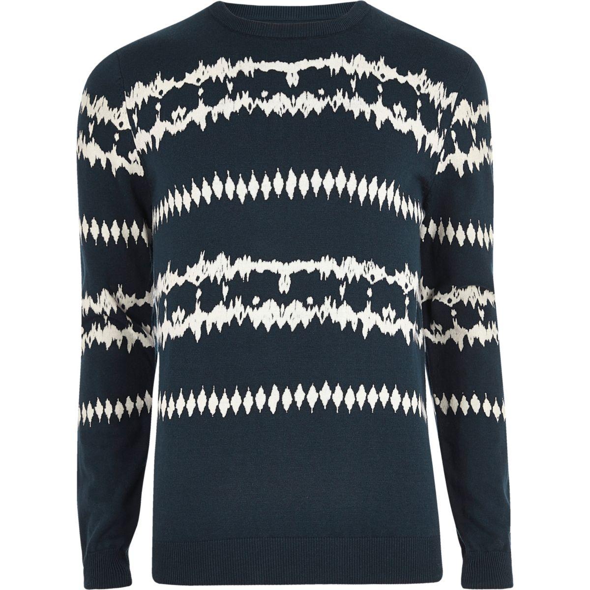 Dark blue aztec tie dye jumper