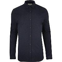 Chemise casual coupe près du corps bleu marine