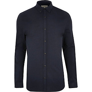 Navy blue muscle fit casual shirt