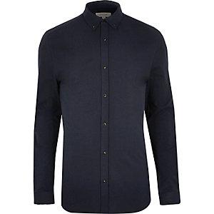Marineblauw casual aansluitend overhemd