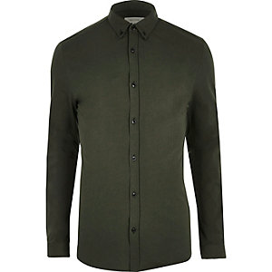Khaki green muscle fit casual shirt