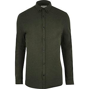 Kakigroen casual aansluitend overhemd