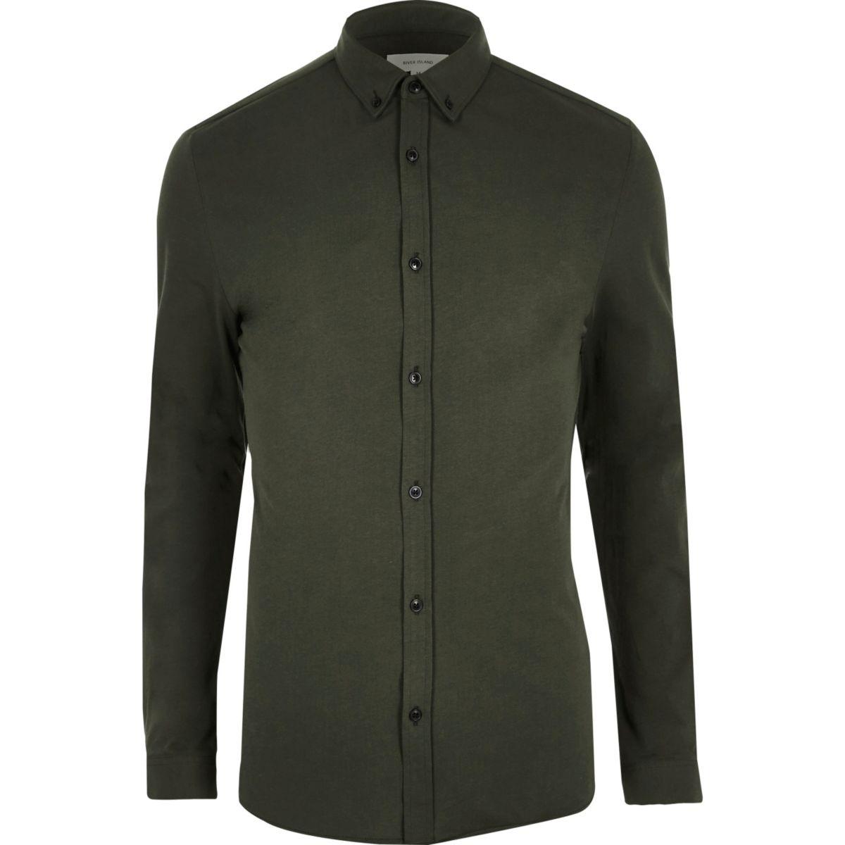 Khaki green muscle fit casual shirt