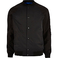 Black raglan sleeve bomber jacket