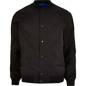 Black raglan sleeve bomber jacket