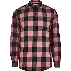 Chemise casual à carreaux rose