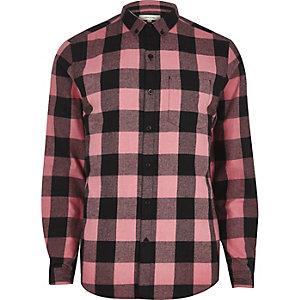 Roze geblokt casual overhemd