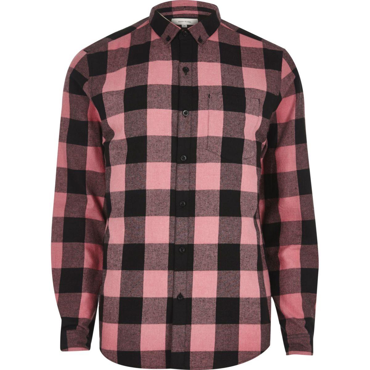 Pink buffalo check casual shirt