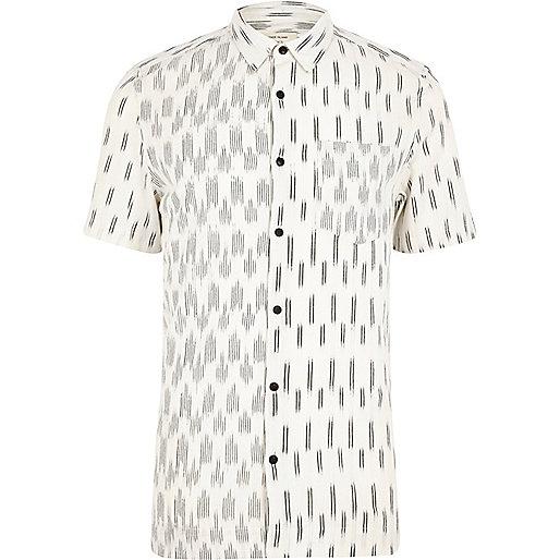 Ecru contrast print short sleeve shirt