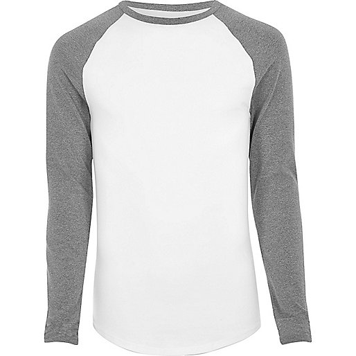 Grey raglan long sleeve muscle fit T-shirt