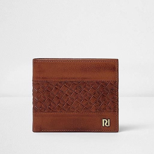 Tan brown lattice textured wallet