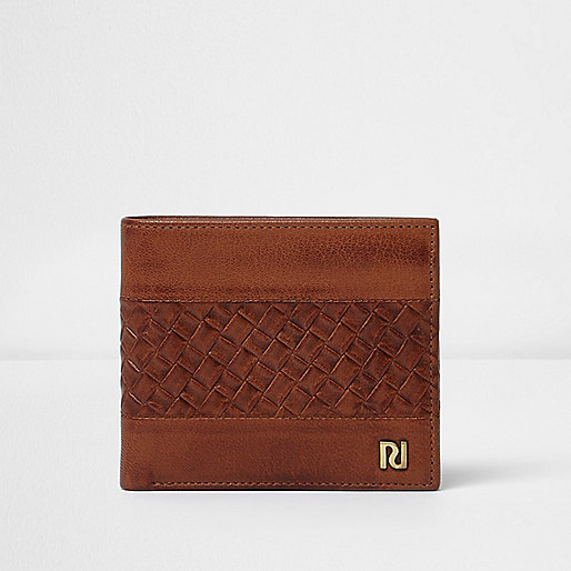 Tan brown lattice textured wallet