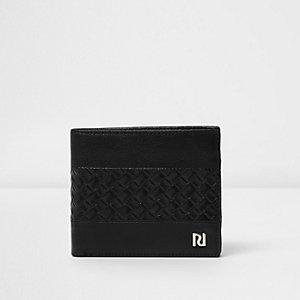 Zwarte portemonnee met vlechtwerk