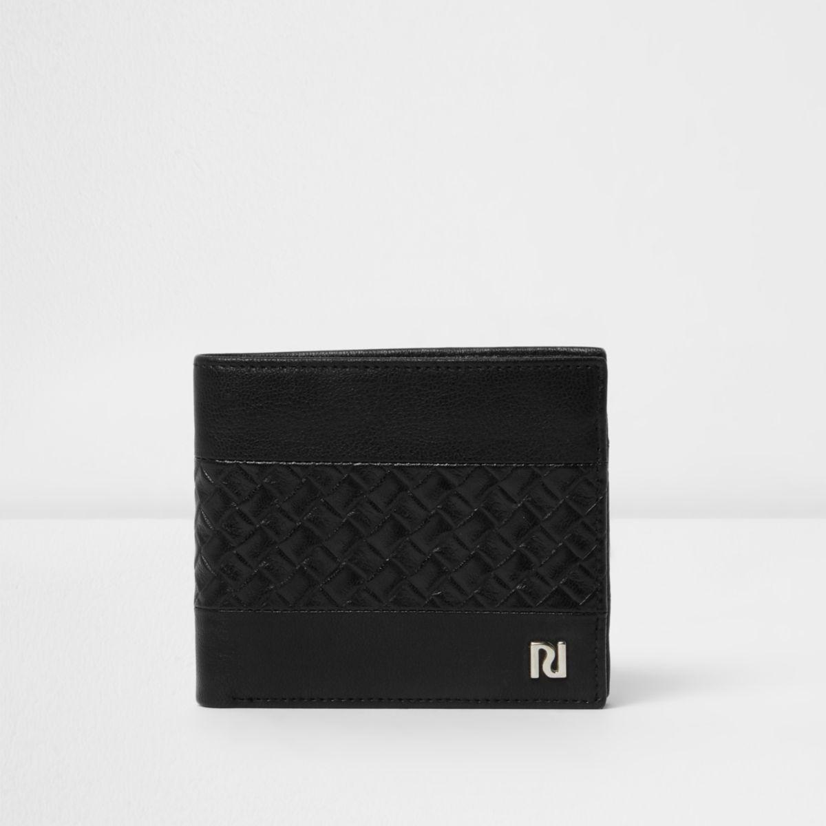 Portefeuille motif tressé texturé noir