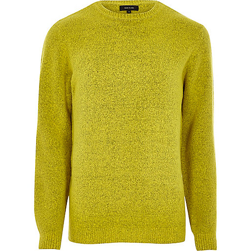 Lime green soft knit crew neck jumper