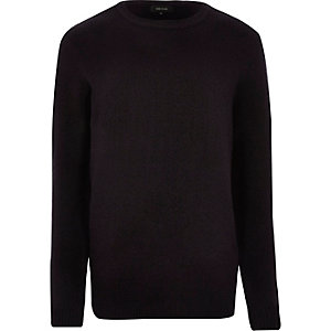 Navy soft crew neck knit jumper