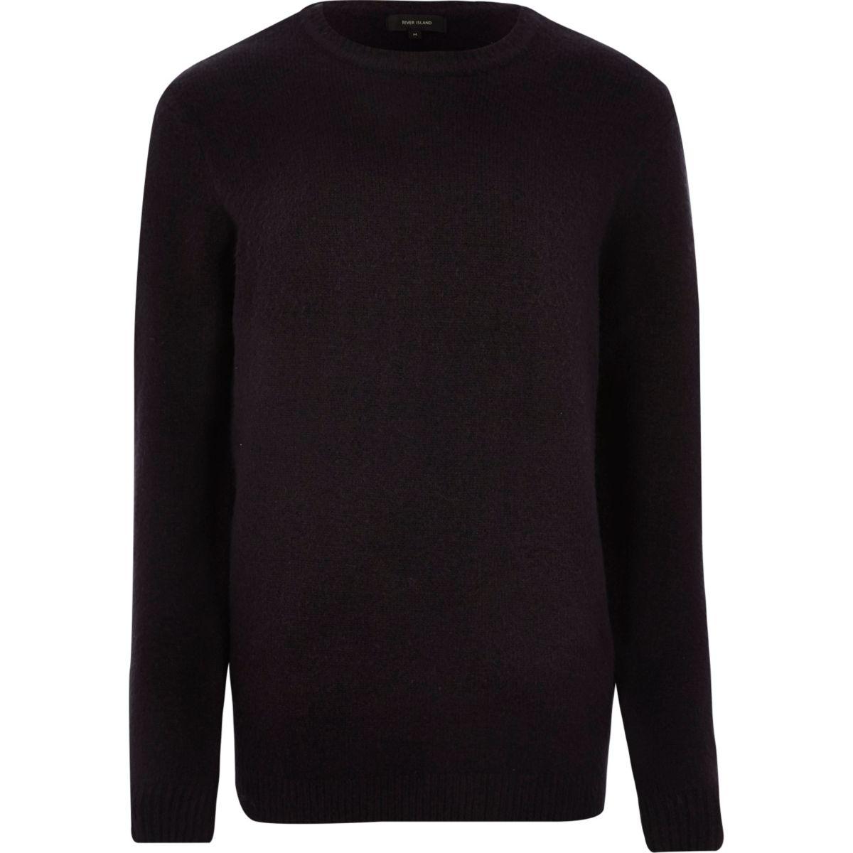 Navy soft crew neck knit sweater