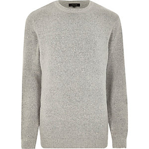 Grey soft crew neck knit sweater