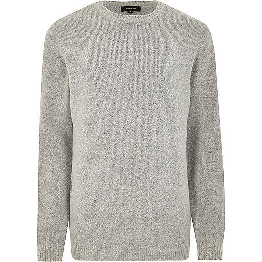 Grey soft crew neck knit jumper