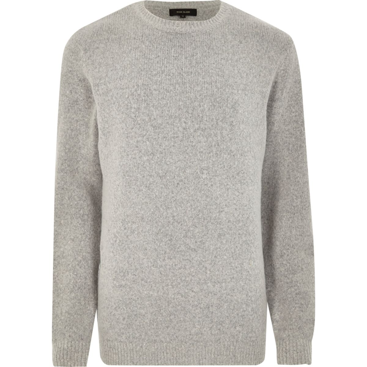 Grey soft crew neck knit jumper