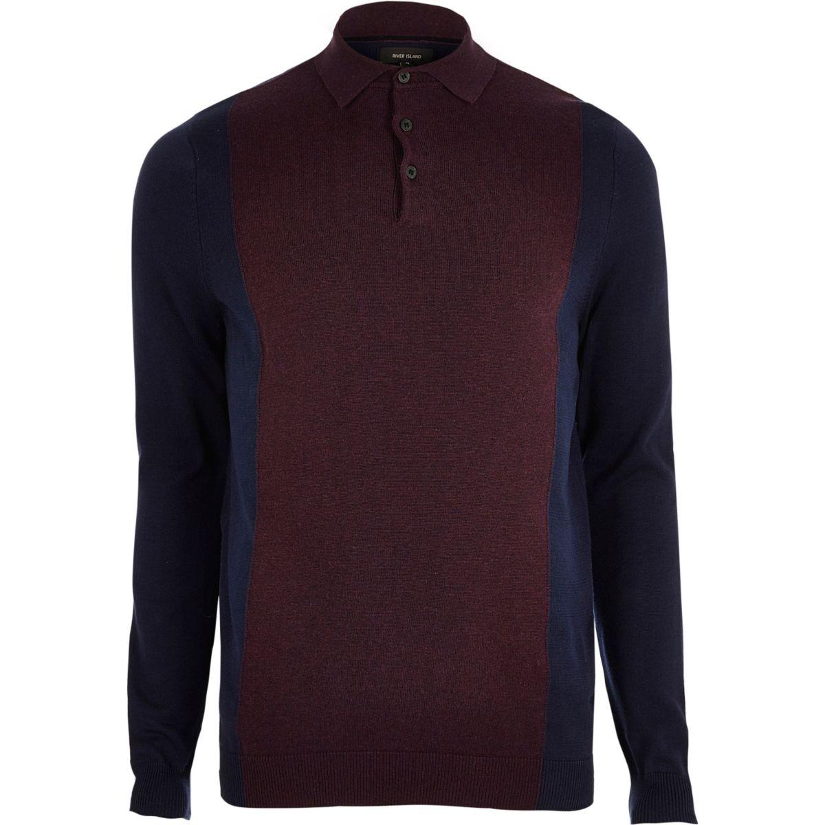Purple knit color block polo shirt