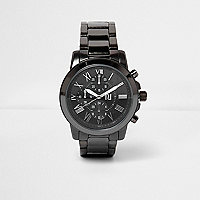 Dark gunmetal chain strap watch