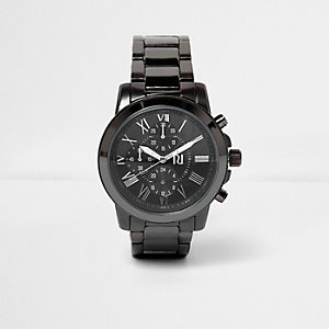 Donkermetaalgrijs horloge met schakelband