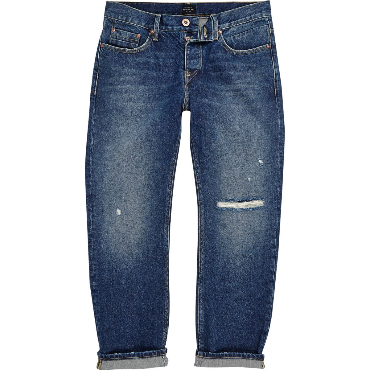 Blue wash distressed loose fit Cody jeans