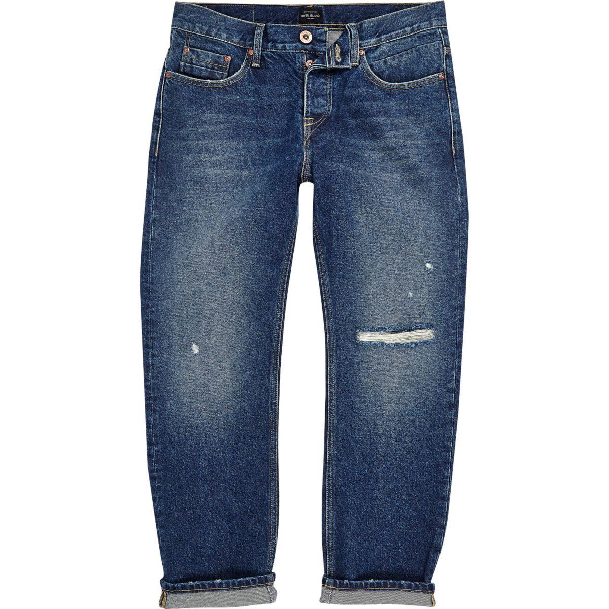 Cody - Blauwe wash distressed jeans met ruime pasvorm