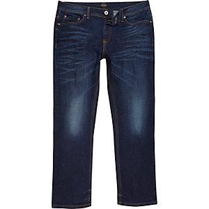 Dean - Donkerblauwe wash jeans met rechte pijpen
