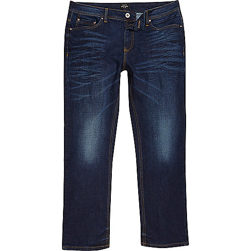 Dark blue wash Dean straight leg jeans
