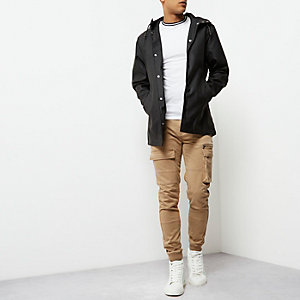 Black water resistant hooded jacket
