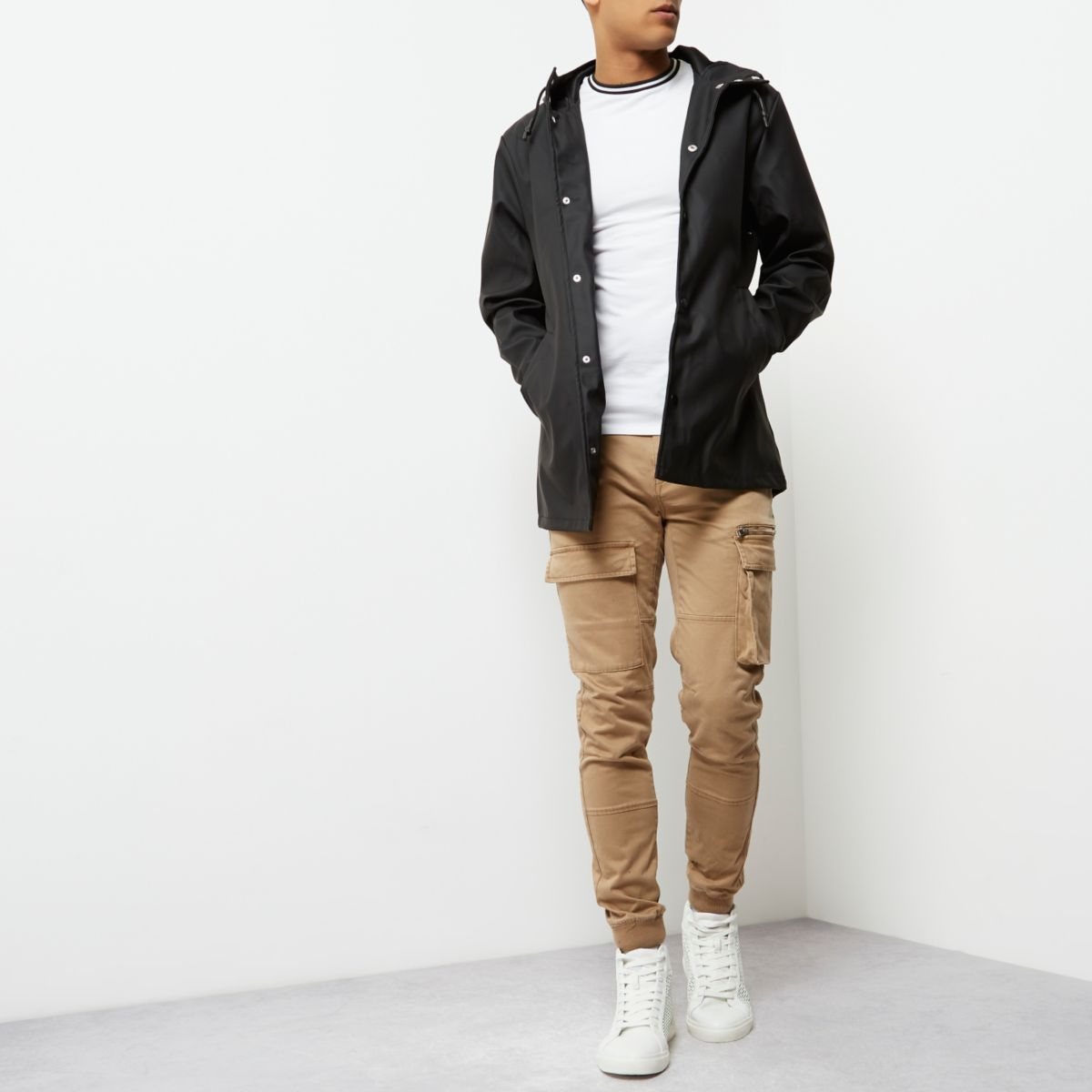 Black water resistant hooded jacket