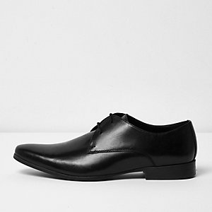 Black smart leather derby shoes