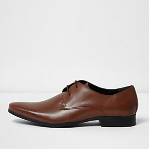 Brown smart leather derby shoes
