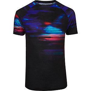 Black faded glitch print muscle fit T-shirt