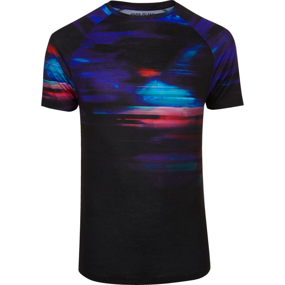Black faded glitch print muscle fit T-shirt