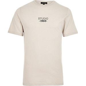 Stone slim fit studio print T-shirt