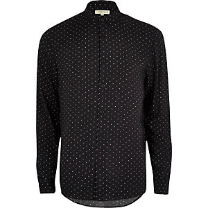 Black star print casual shirt