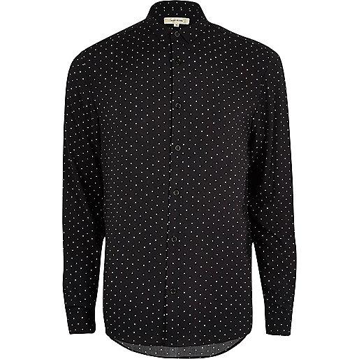 Black star print casual shirt