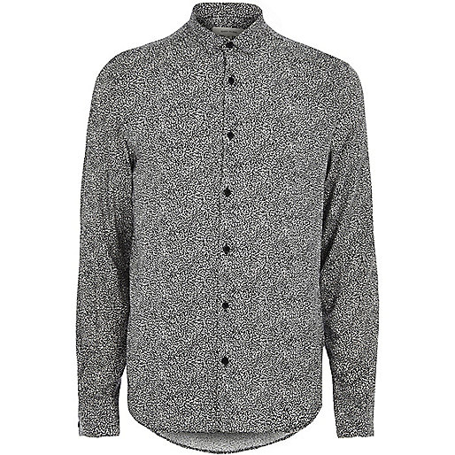 Black and white animal print smart shirt