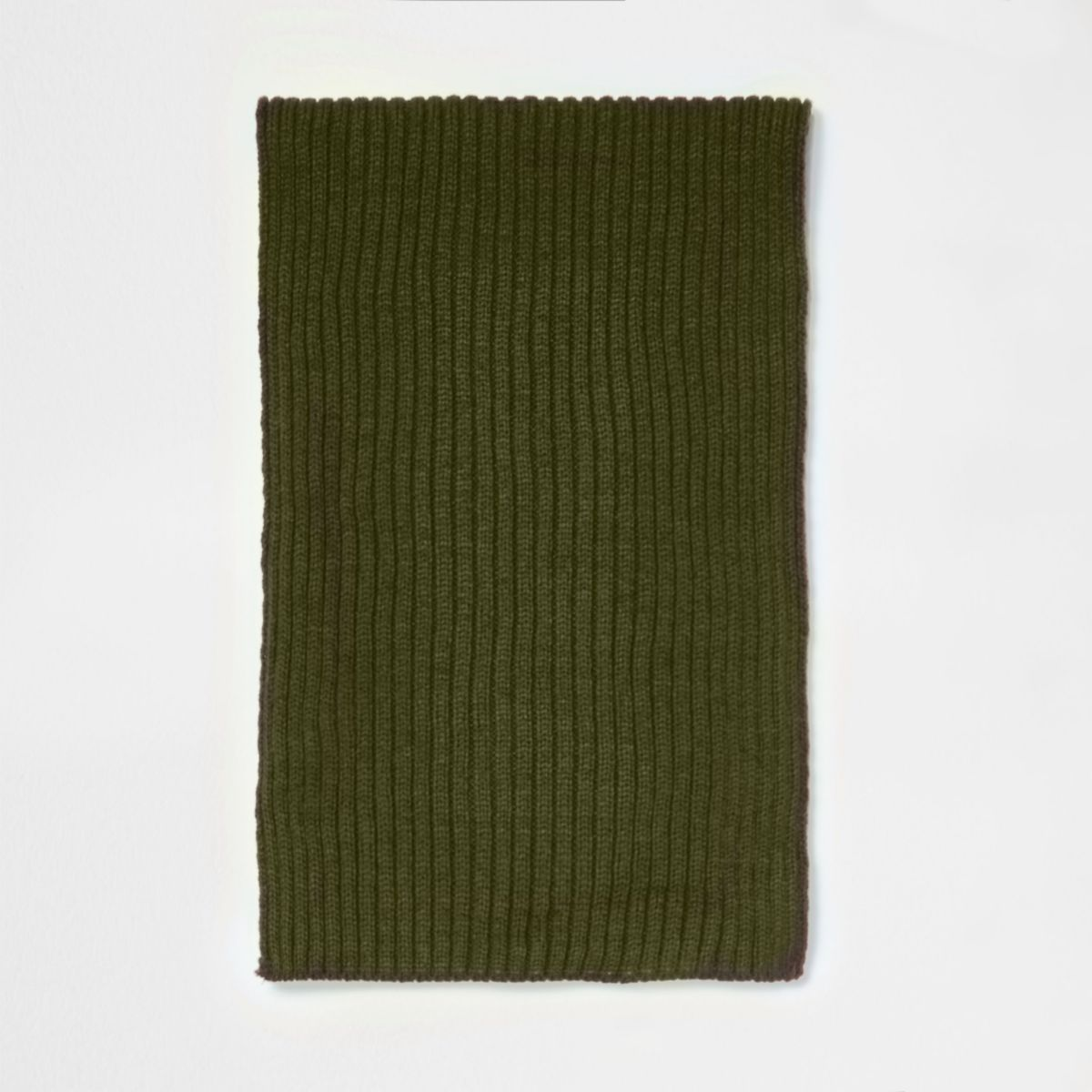 Green ribbed knit scarf