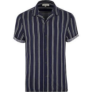 Blue stripe revere collar shirt