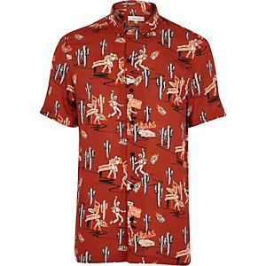 Rotes, kurzärmliges Hemd mit Print