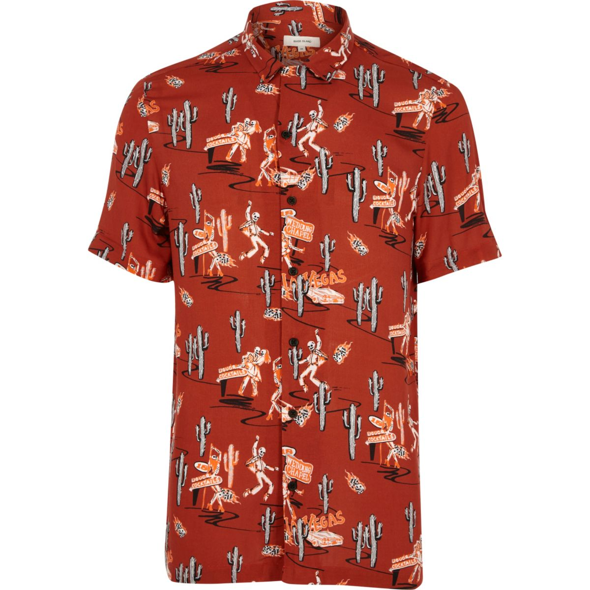 Red day of the dead print short sleeve shirt