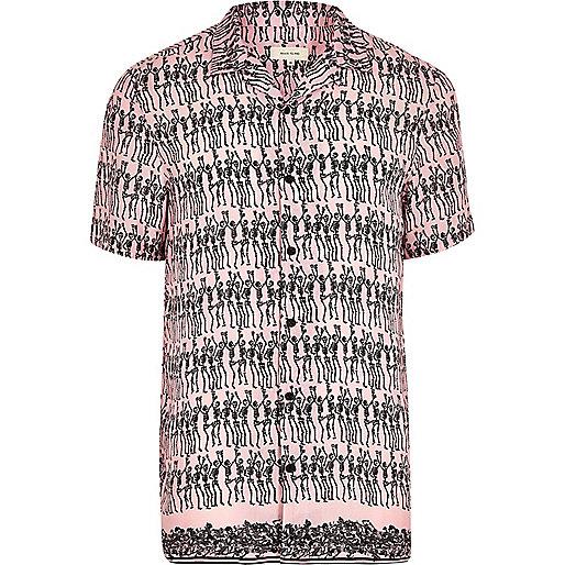 Pink skeleton print short sleeve shirt