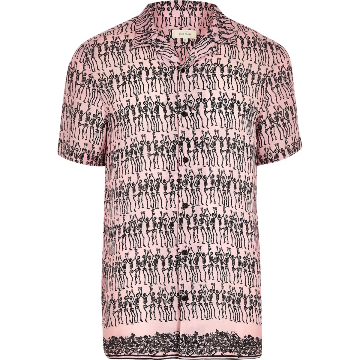 Pink skeleton print short sleeve shirt