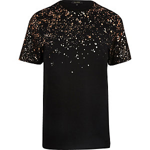 Black metallic paint splatter T-shirt