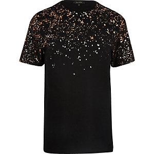 T-shirt noir métallisé avec taches de peinture